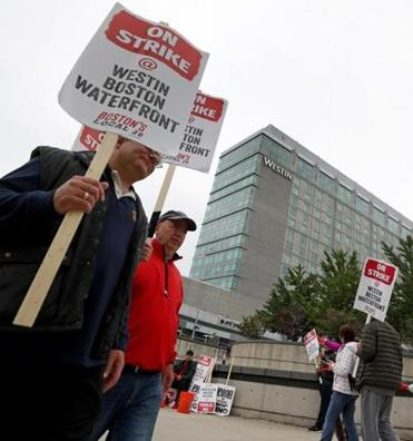 Hotel workers protested at the Westin Boston Waterfront, which had a $28.8 million profit in 2017.