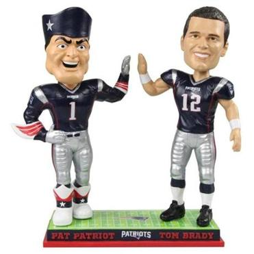 A bobblehead figure depicting New England quarterback Tom Brady, right, and the team's mascot, Pat the Patriot.