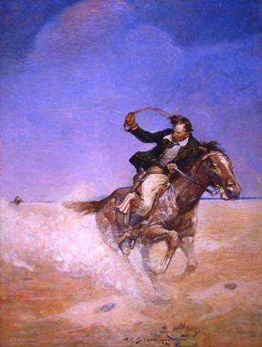 11ticketmuseum Frank E Schoonover: Visions of America at Norman Rockwell Museum through May 27, 2019. Frank E. Schoonover (1877-1972), Abe Catherson (Pony Express Rider), 1916. Illustration for The Range Boss by Charles Alden Seltzer, A.C. McClurg & Company. Oil on canvas, 36 x 27 in. Private collection.