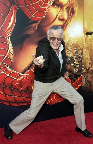 "Stan Lee at the premiere of ""Spider-Man 2""."