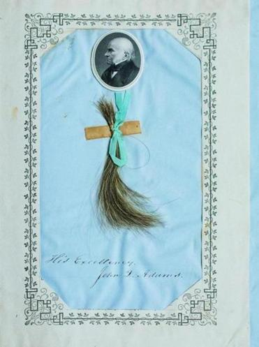 "Hair from John Quincy Adams pictured in ""Specimens of Hair."""