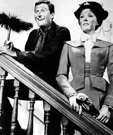 "Julie Andrews, with Dick Van Dyke, in the orginal ""Mary Poppins."""