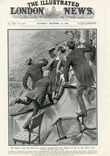 Helen Ogston being arrested on the 6 December 1908 as appearred in the Illustrated London News (that would have been sold in the US) Wikimedia Commons