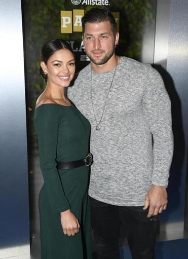 Tim Tebow and Demi-Leigh Nel-Peters at an event last week in San Jose, Calif.