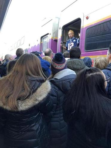 A commuter rail conductor wearing Patriots jersey told the riders that the train was too full Tuesday.