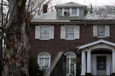 The home on Clinton Road in Brookline where two elderly sisters, Lynda and Sheryl Waldman, lived. The house, in one of the town's most prosperous neighborhoods, is now condemned.