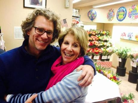 09mothersday - David Abel, the author, and his mom, Syd Abel, at their flower shop in Penn Station in New York City. (David Abel/Globe Staff)