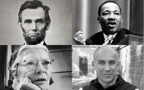 Pope Francis cited four Americans in his speech to Congress. Clockwise from top left: President Abraham Lincoln, civil rights leader Martin Luther King Jr., Trappist monk and writer Thomas Merton, and social activist Dorothy Day.