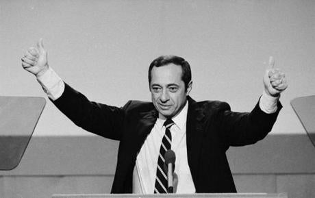 FILE - In this July 17, 1984, file photo, New York Gov. Mario Cuomo gives a thumbs-up gesture with both hands during his keynote address to the opening session of the Democratic National Convention in San Francisco. Cuomo, a three-term governor, died Thursday, Jan. 1, 2015, the day his son Andrew started his second term as governor, the New York governor's office confirmed. He was 82. (AP Photo/File)
