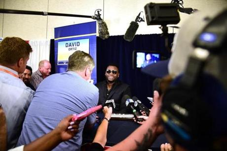 SAN DIEGO, CA - JULY 11: David Ortiz #34 of the Boston Red Sox speaks to the press during Media Availability for the 87th Annual MLB All-Star game at the Manchester Grand Hyatt on July 11, 2016 in San Diego, California. (Photo by Harry How/Getty Images)