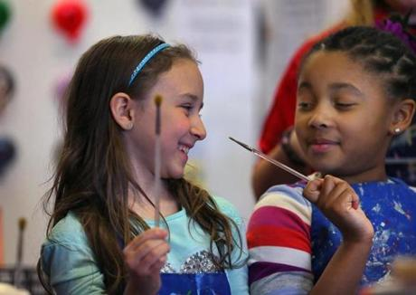 Caitlyn Rose Kasper (left) celebrated her eight birthday at a party with her friends at Plaster Fun Time.