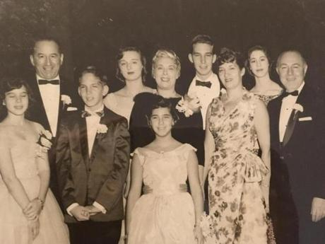 The Waldman and Carver families at a 1959 bar mitzvah ceremony in Brookline for John Carver. Front row from left: Sheryl Waldman, John Carver, Jacqueline Carver, Lillian Carver, and Joseph Carver. Back row from left: Jack Waldman, Toby Waldman, Martha Waldman, Thomas Carver, and Lynda Waldman.