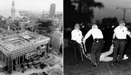 "UPI Telephoto, June 20, 1967. Boston's new City Hall in foreground begins to take shape as viewed from JFK Federal building. Custom House tower in background stands as a reminder of ""Old Boston"" amidst heavy construction of ""New Boston"". Images of Boston City Hall Library Tag 02122012 Ideas"