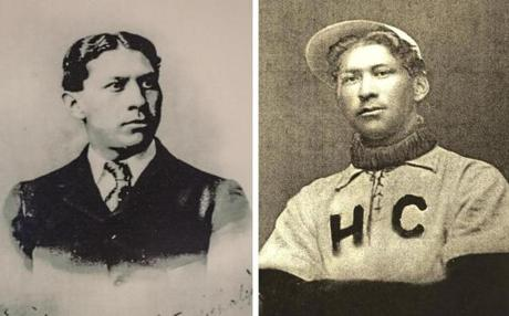 on right: Louis Sockalexis during his playing days at Holy Cross.