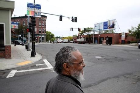 Boston, MA- May 31, 2017: Representative Byron Rushing tours Blue Hill Ave in Roxbury, MA on May 31, 2017. A sit-in by welfare mothers at the Grove Hall Welfare office in 1967 kick-started a weekend of rioting and unrest on Blue Hill Ave 50 years ago. Rushing was a community organizer who was arrested in the turmoil. (Globe staff photo / Craig F. Walker) section: metro reporter: Johnson