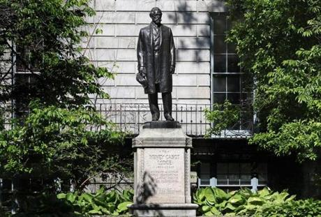 BOSTON, MA - 6/02/2017: Public art in and around Boston, Henry Cabot Lodge, (1932, Raymond Porter, State House lawn near Beacon St.) (David L Ryan/Globe Staff Photo) SECTION: ARTS TOPIC 04TyColumn
