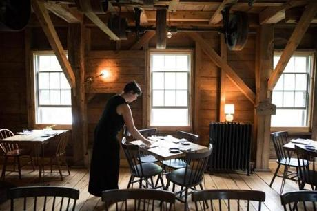 Lovely Lauren Crichton, A Server At The Lost Kitchen, Sets Up The Dining Room For  The Evening Meal.