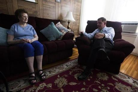 Boston , MA - 6/19/2017 - Boston Mayor Marty Walsh chat with his mother Mary in the family home in Boston , MA, June 19, 2017. (Keith Bedford/Globe Staff)