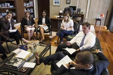 Boston , MA - 6/9/2017 - Boston Mayor Marty Walsh meets with his staff in his office in City Hall in Boston , MA, June 9, 2017. (Keith Bedford/Globe Staff)