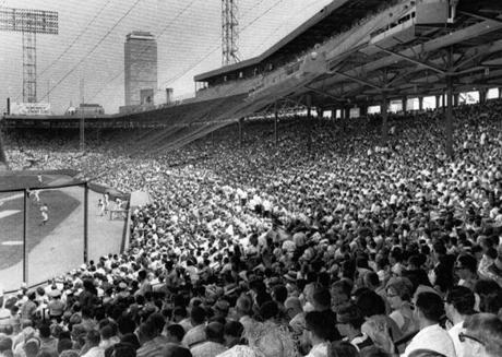 Boston, MA - 7/27/1967: Some of the 34,193 people at a game between the Boston Red Sox and the California Angels at Fenway Park in Boston on July 27, 1967. It was the largest attendance of the season. (UPI/Wire Photo) --- BGPA Reference: 170403_MJ_007