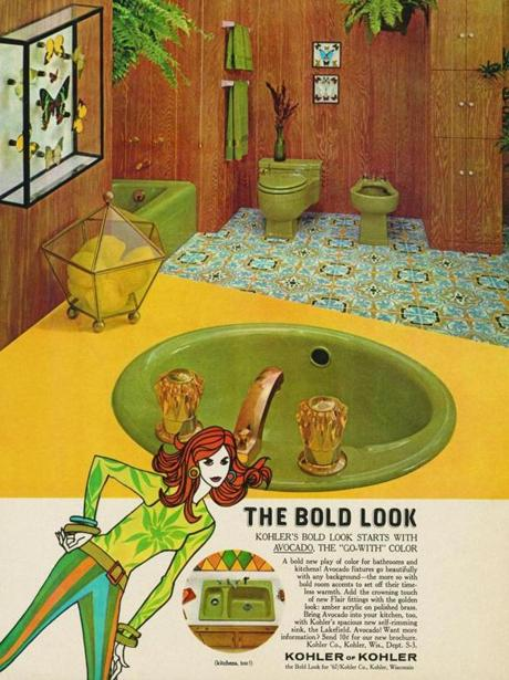"The pattern of this (most likely vinyl) floor in this 1967 Kohler ad for ""Avocado"" bathroom fittings is incredibly similar to the Moroccan-inspired cement tiles so popular in bathrooms today."