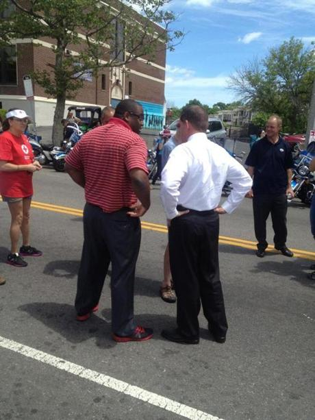 Walsh (right) and City Councilor Tito Jackson, his most prominent opponent in this year's mayoral race, joined the Dot Day Parade in June in search of votes.