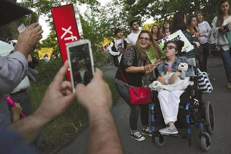 Mansfield, Ma., 06/08/17, The big day has arrived---Abi's first concert, and her extended family take photos as she arrives at the Xfinity Center to see her favorite singer perform. Suzanne Kreiter/Globe staff