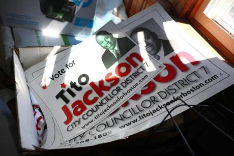 Campaign posters from Tito Jackson's Boston city council race were piled in a box on the front porch of his home.
