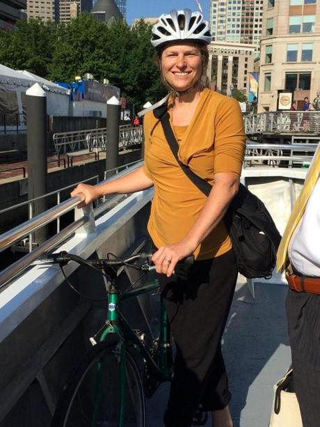 13noferry - Lydia Olson bikes from home in Swampscott to the ferry and then to Kendall Square. She calls it relaxing. (Bette Keva)