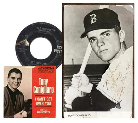 "Conigliaro released several singles, first through the smaller Penn-Tone label he formed with a business partner, then with RCA, including the two-sided ""Little Red Scooter""/""I Can't Get Over You,"" shown here with the photo he signed for Joan Terlemezian."