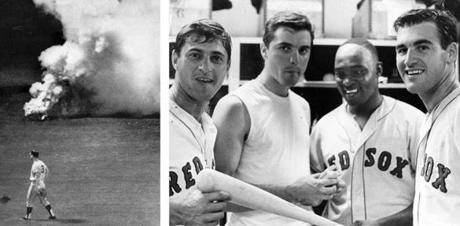 A smoke bomb was tossed on the field near Angels leftfielder Rick Reichardt on Aug. 18, 1967, just as Conigliaro was due on deck. Three days before, Conigliaro, second from left, had joined a happy Carl Yastrzemski, George Scott, and Dave Morehead in the Fenway locker room, after Moreland shut out Detroit.