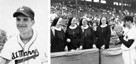 Tony Conigliaro's baseball photo from the St. Mary's of Lynn 1961 team, his junior year and the first of two straight seasons as a Boston Globe All-Scholastic. In the mid-1960s, nuns were a frequent presence at Fenway; here, in 1966,  Sister Mary Thurston, Sister Mary Irene Gabrielle, Sister Mary Richard, and Sister Mary Laurianna met Tony C at the field.
