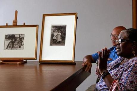 "Larry Schuyler and Benetta Kuffour, descendants of people portrayed in photographs in ""Rediscovering an American Community of Color: The Photographs of William Bullard,"" opening at the Worcester Art Museum in October."