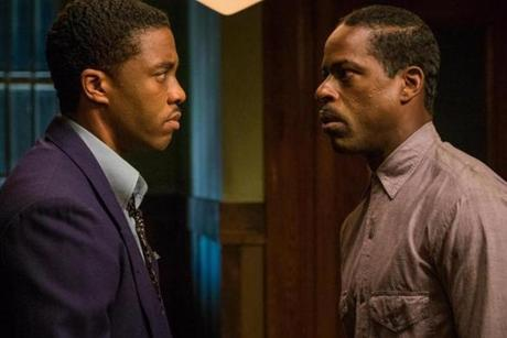 Chadwick Boseman and Sterling K. Brown in the 2017 film MARSHALL, directed by Reginald Hudlin.