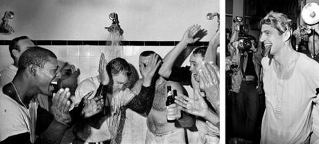 Boston Red Sox players celebrated after their final regular-season game in 1967, clinching at least a tie for the American League pennant. Carl Yastrzemski (right) smoked a cigar.