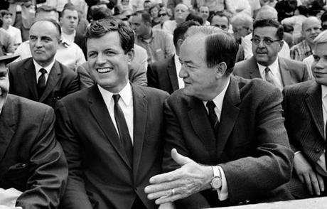 Senator Ted Kennedy and Vice President Hubert Humphrey took in the Twins-Red Sox game on Saturday, Sept. 30.