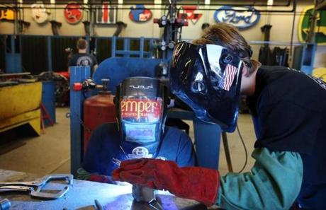 Students worked in a welding and metal fabrication shop at York County School of Technology.