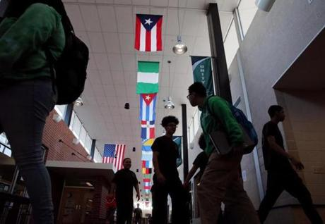 Flags from many nations, representing the diversity of students' heritage, decorated a hallway at York County School of Technology.