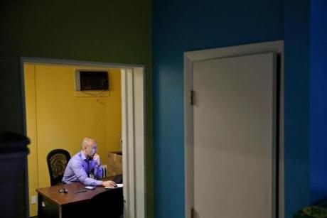 Founder and owner of Carryout Courier, Chad Eisenhart, sat in his office at in York, Pa., last month.