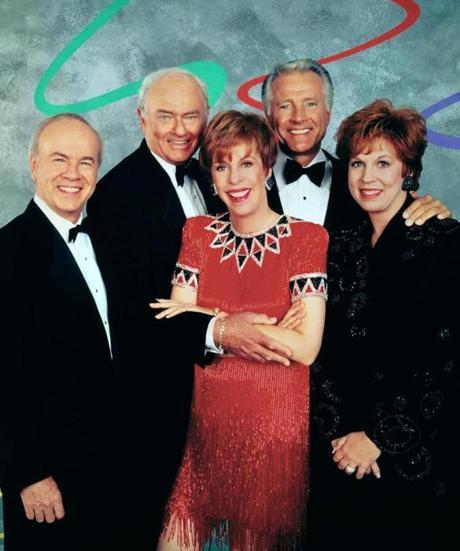 CBS will celebrate the 50th anniversary of Carol BurnettÕs classic, award-winning comedy series with THE CAROL BURNETT 50TH ANNIVERSARY SPECIAL, a new two-hour star-studded event featuring Burnett, original cast members and special guests, on Sunday, Dec. 3 (8:00 Ð 10:00 PM, ET/PT), on the CBS Television Network. Tim Conway, Harvey Korman, Lyle Waggoner, Vicki Lawrence and Carol Burnett, shown. ©2017 CBS Broadcasting, Inc. All Rights Reserved 19HolidayTVPicks