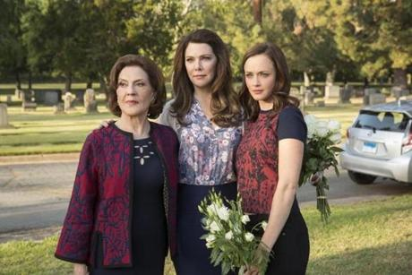 "(Left to Right) Kelly Bishop, Lauren Graham, and Alexis Bledel in the Netflix original series released in 2016 ""Gilmore Girls: A Year In The Life."" 25Gilmore"