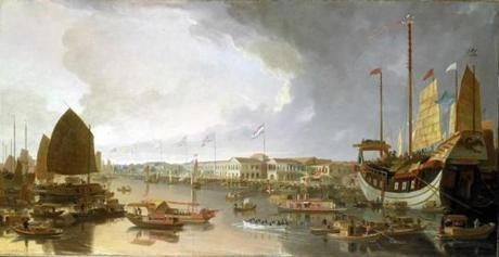 Guangzhou (painted 1805-1810), with the Pearl River and several European factories.