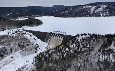 BAIE COMEAU, QUEBEC, CANADA - 1/20/2018: ( NOTE: important to the story ) Hydro-Quebec... The Bersimis-2 dam (David L Ryan/Globe Staff ) SECTION: METRO TOPIC 28quebecpic