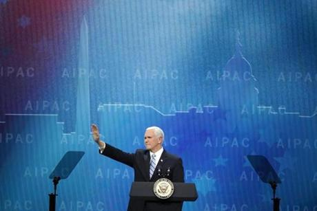 Vice President Mike Pence addressed the American Israel Public Affairs Committee's annual policy conference at the Washington Convention Center on Monday.