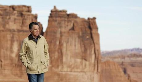 Mitt Romney walked during a tour of Arches National Park, near Moab, Utah.