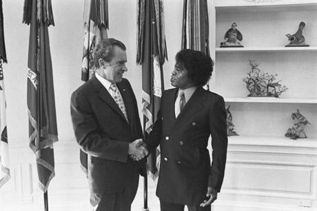 President Nixon and Brown in the Oval Office in 1972. Brown performed at one of Nixon's inaugural galas.