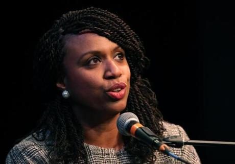 Boston MA 4/3/18 Councilor Ayanna Pressley speaking at a forum in the Greene Theater at Emerson College. (photo by Matthew J. Lee/Globe staff) topic: 05capuanopressley(2) reporter: