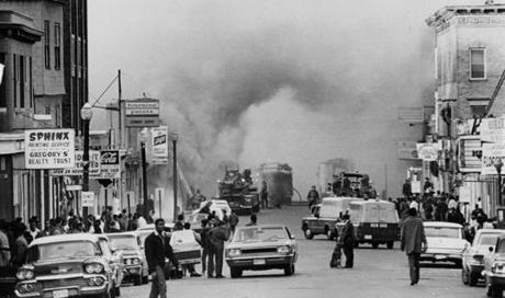 A store on Blue Hill Avenue in Roxbury burned during unrest after the killing of Martin Luther King Jr.