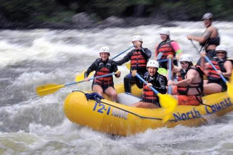 Rafters sped through part of the Kennebec Gorge last August.