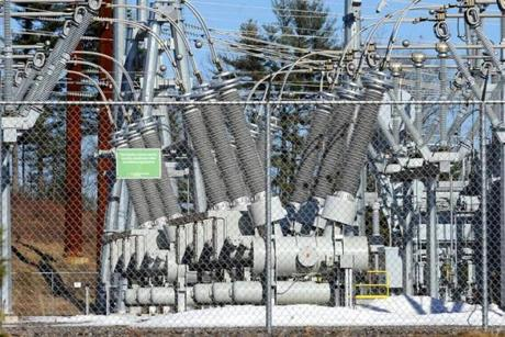 Central Maine Power's Larrabee Road substation in Lewiston would be where new high-voltage transmission lines would connect Hydro-Québec to the New England power grid.